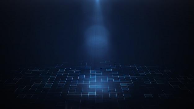 Rendu 3d d'un projecteur qui brille sur un fond sombre et un sol futuriste sci fi. Photo Premium