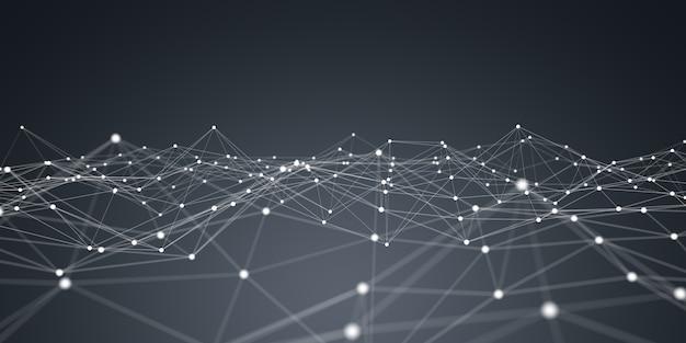Rendu 3d réseau flottant de points blancs et bleus Photo Premium