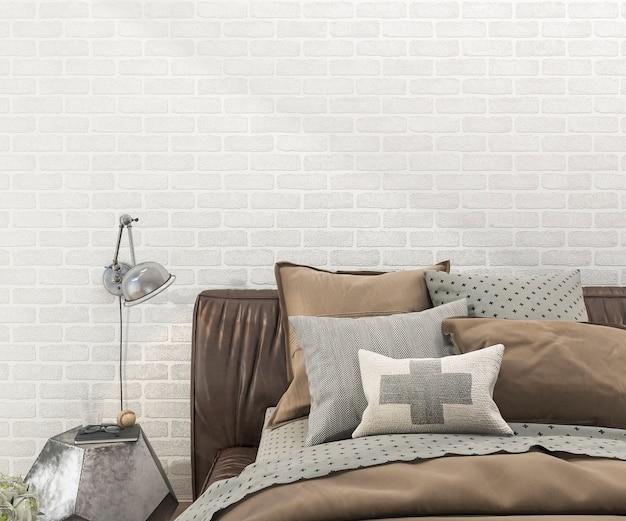 Rendu 3d rétro lit marron dans la chambre à coucher avec mur de briques Photo Premium