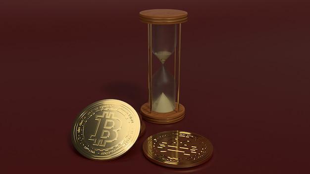 Rendu 3d sabliers et bitcoins pour crypto-monnaie Photo Premium