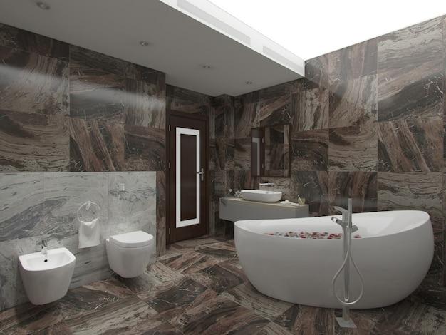 Rendu 3d salle de bain marron Photo Premium