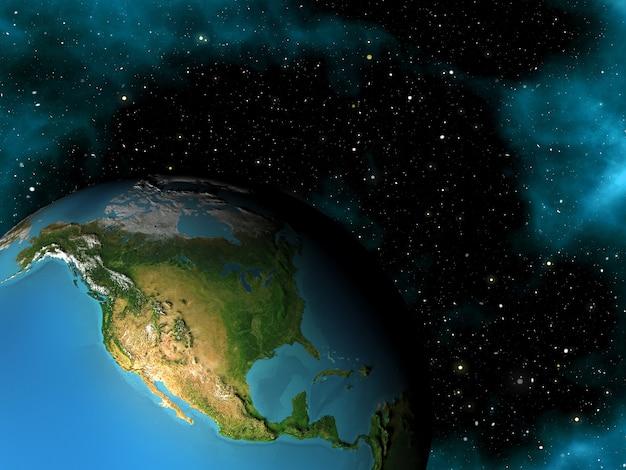 Rendu 3d D'une Scène Spatiale Avec La Terre Dans Le Ciel étoilé Photo gratuit