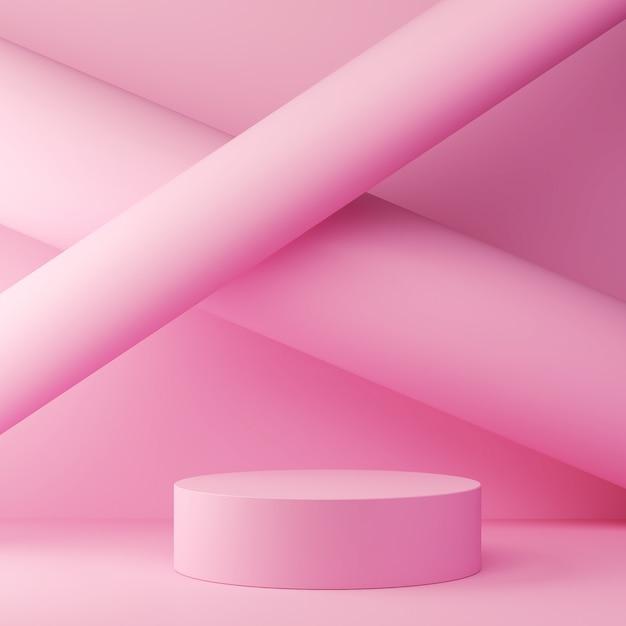 Rendu 3d de toile de fond de couleur pastel avec un podium de conception pour l'affichage dans une scène de style minimaliste. Photo Premium