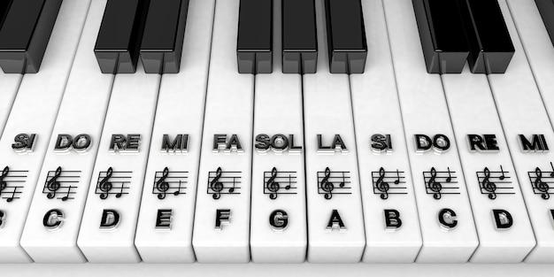 Rendu 3d, Touches De Piano Avec Des Notes De Clé De Sol. Contexte Musical Photo Premium