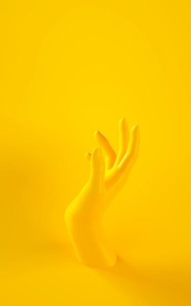 Rendu 3d vertical de la main jaune sur fond jaune Photo Premium