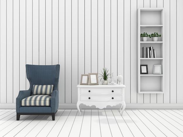Rendu blanc mur moderne salon avec fauteuil classique Photo Premium