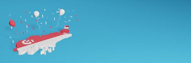 Rendu De Carte 3d Combiné Avec Le Drapeau De Singapour Pour Les Médias Sociaux Et Ajout De La Couverture D'arrière-plan Du Site Web Ballons Rouges Et Blancs Pour Célébrer La Fête De L'indépendance Et La Journée Nationale Du Shopping Photo Premium