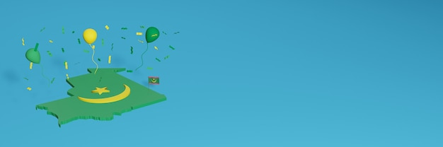 Rendu De Carte 3d En Conjonction Avec Le Drapeau Mauritanien Pour Les Médias Sociaux Et L'arrière-plan Du Site Web Ajouté Couvre Des Ballons Verts Jaunes Pour Célébrer La Fête De L'indépendance Et La Journée Nationale Du Shopping Photo Premium