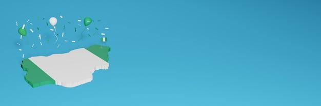 Rendu De Carte 3d En Conjonction Avec Le Drapeau Nigérian Pour Les Médias Sociaux Et Ajout De La Couverture D'arrière-plan Du Site Web Ballons Blancs Verts Pour Célébrer La Fête De L'indépendance Et La Journée Nationale Du Shopping Photo Premium
