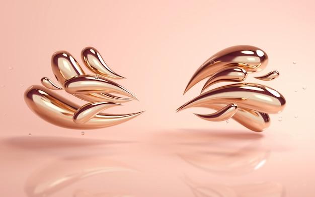 Rendu de fond 3d d'or coloré liquide tombe sur fond de nu Photo Premium