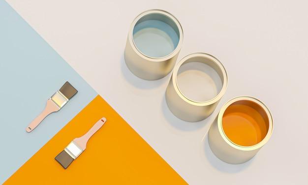 Rendu d'image 3d de boîtes de couleur et pinceau géométrique Photo Premium