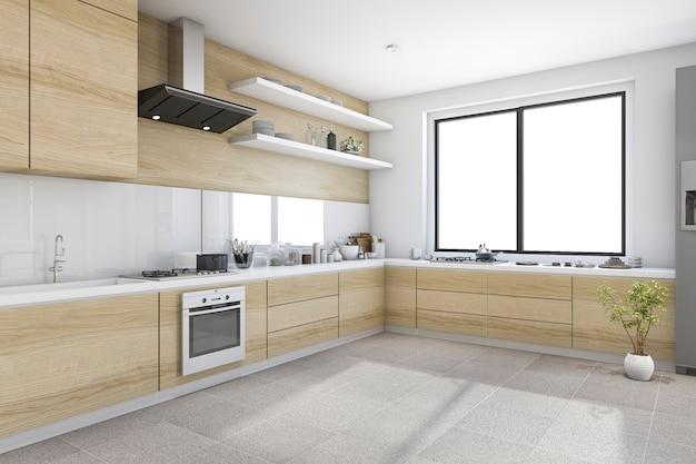 Rendu minimal blanc cuisine minimaliste avec décoration en bois intégré Photo Premium