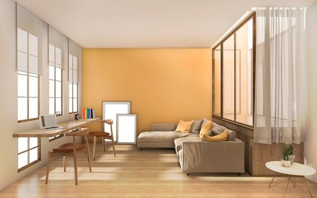 Rendu moderne jaune salon moderne avec la lumière du jour depuis la fenêtre Photo Premium