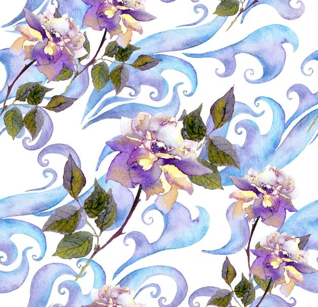 Répétant motif floral aquarelle hiver. aquarelle motif de glace avec fleurs roses, volutes et courbes Photo Premium