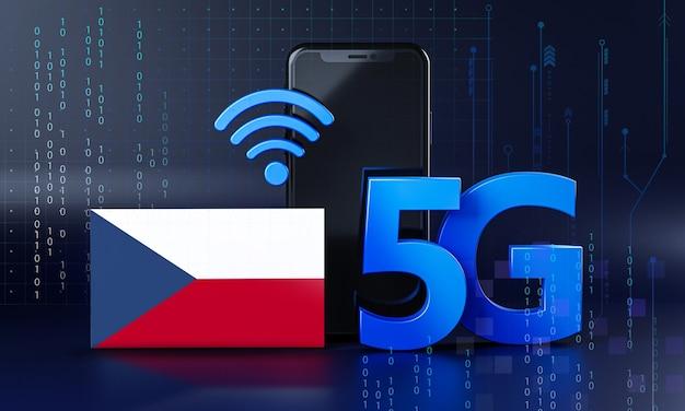 La République Tchèque Est Prête Pour Le Concept De Connexion 5g. Fond De Technologie Smartphone De Rendu 3d Photo Premium