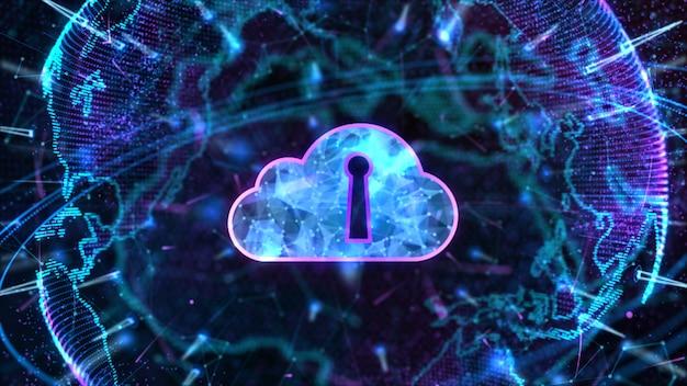 Réseau de données sécurisé calcul en nuage numérique cyber security concep Photo Premium