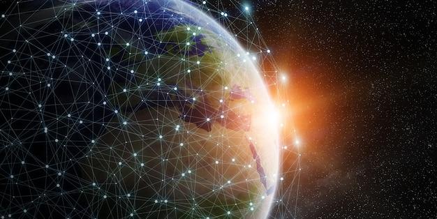 Réseau mondial et échange de données dans le monde entier Photo Premium