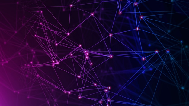 Réseau avec nœuds connectés en arrière-plan. concept technologique Photo Premium