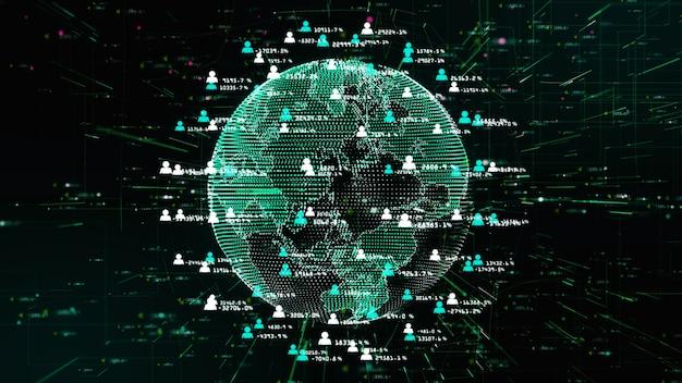 Réseau technologique pour le marketing internet information holographique Photo Premium