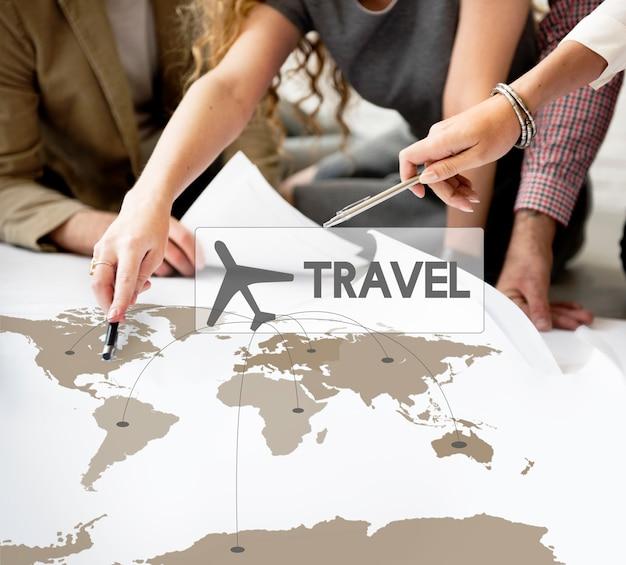 Réservation de billet d'avion destination concept de voyage Photo gratuit