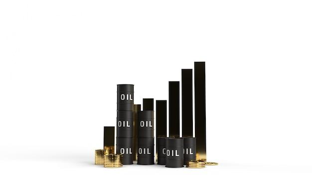 Réservoir D'huile Et Graphique Rendu 3d Pour La Teneur En Essence. Photo Premium
