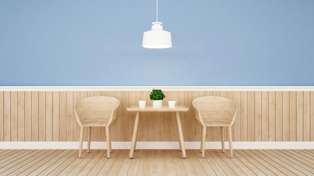 Restaurant ou café sur la conception du mur bleu Photo Premium