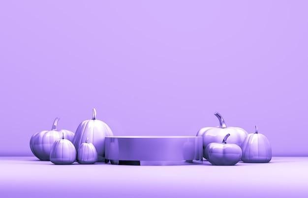 Résumé 3d podium halloween avec boîte de cylindre pastel et citrouilles pour l'affichage des produits. Photo Premium