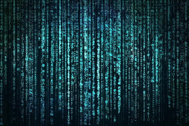 Résumé, données numériques, matrice bleue Photo Premium