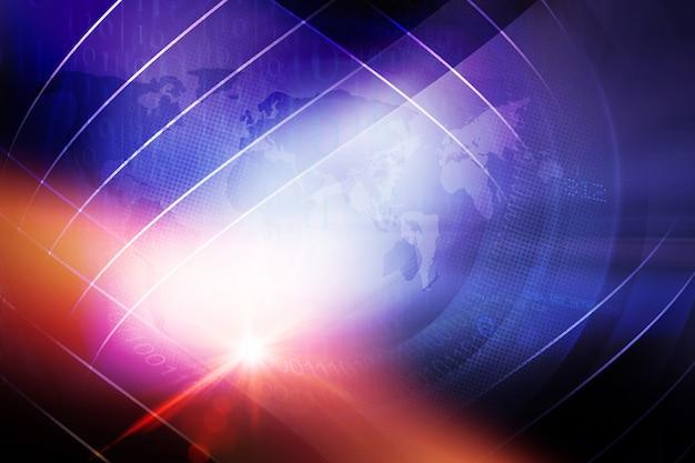 Résumé historique de nouvelles du monde numérique avec effet de lentille Photo Premium