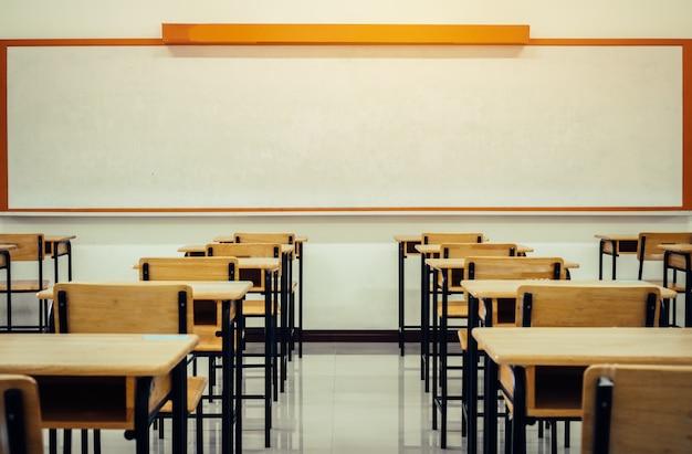 Retour au concept d'école. école salle de classe vide, salle de lecture avec des bureaux et des chaises en bois de fer pour étudier Photo Premium