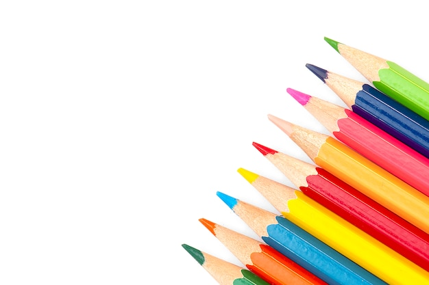 Retour à l'école - crayons de couleur isolés sur fond blanc, Photo Premium