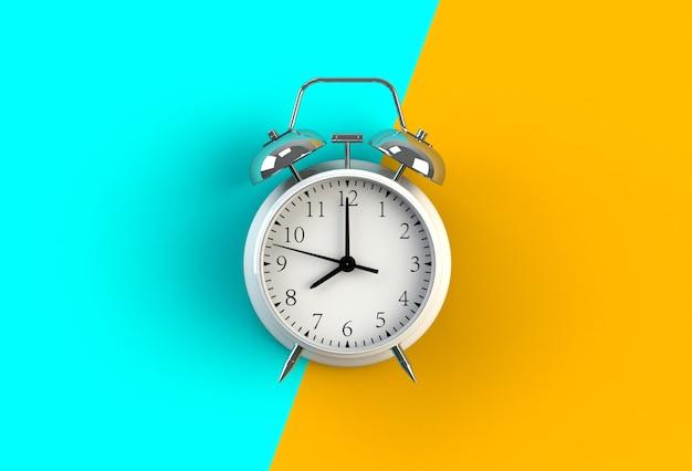 Réveil sur fond bleu et jaune, rendu 3d Photo Premium