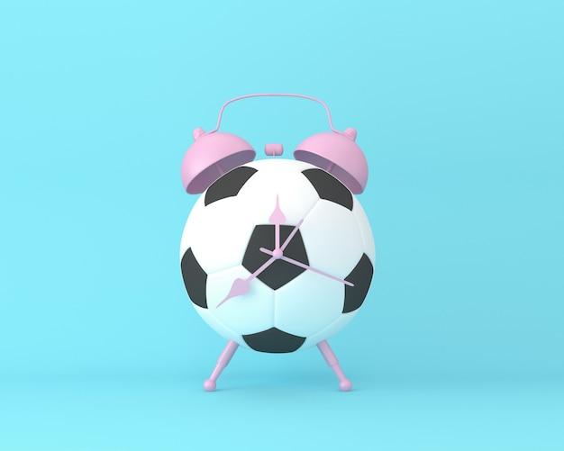 Réveil football idée créative mise en page sur fond bleu pastel Photo Premium