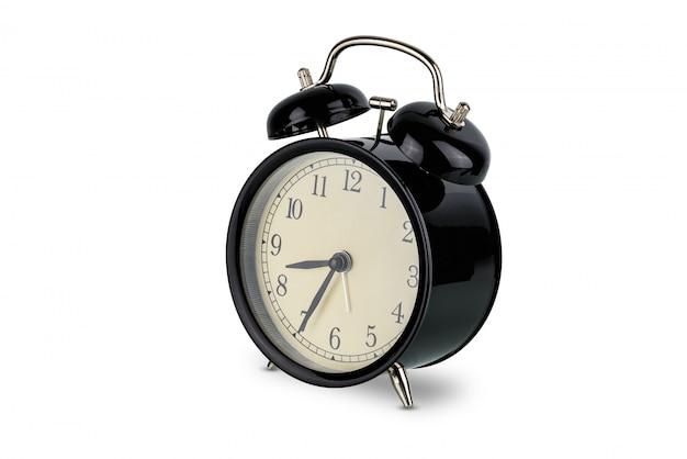 Réveil noir, double sonnette analogique isolée Photo Premium