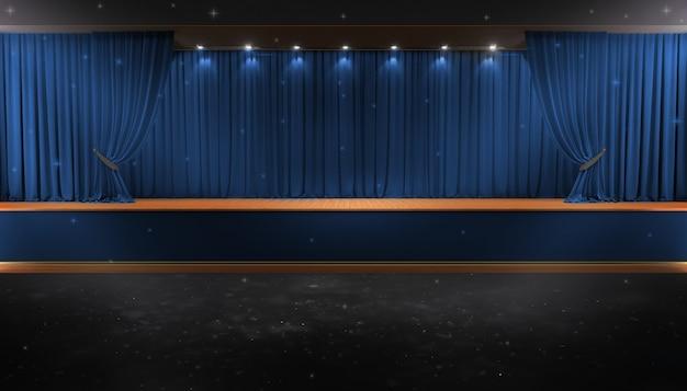 Rideau bleu et un projecteur. affiche du spectacle nocturne du festival Photo Premium