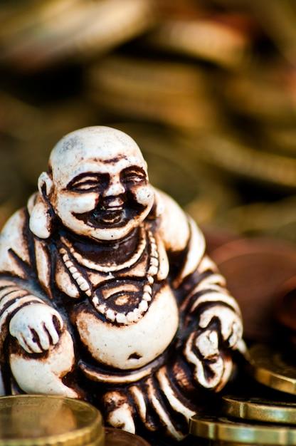Rire Budda Devant Des Pièces Photo gratuit