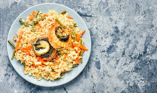 Riz Aux Fruits De Mer Et Légumes Photo Premium