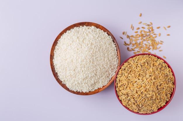 Le riz qui a été pelé est placé avec du paddy sur un fond blanc. Photo gratuit