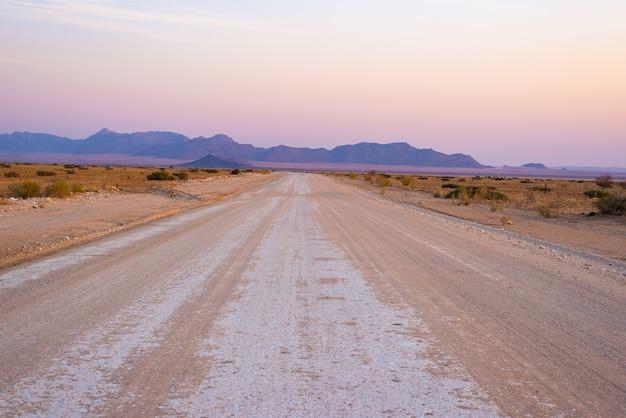 Road trip dans le désert du namib, parc national du namib naukluft, destination de voyage en namibie. voyage aventures en afrique. Photo Premium