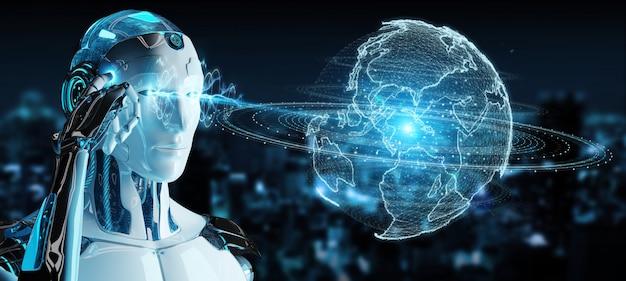 Robot blanc utilisant l'hologramme du réseau de globe avec la carte amérique usa Photo Premium