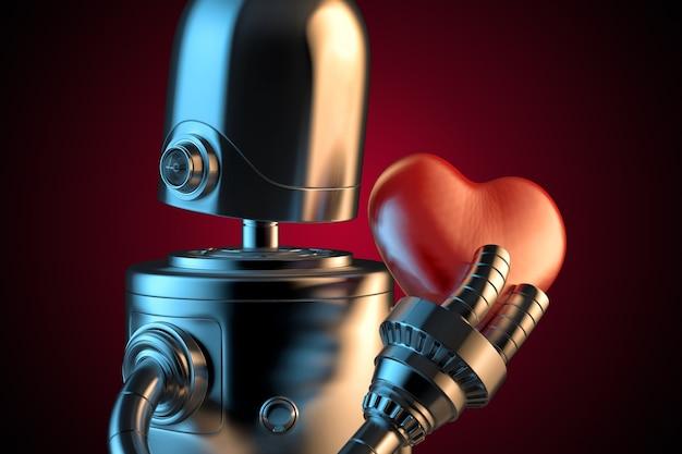 Robot avec un coeur rouge. Photo Premium