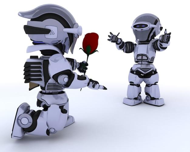 Robot Donnant Une Rose Rouge à Un Autre Robot Photo gratuit