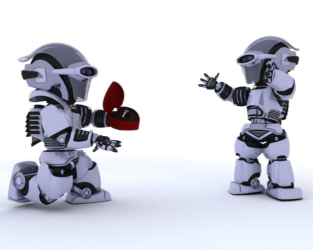 Robot Faisant Une Demande En Mariage à Un Autre Robot Photo gratuit