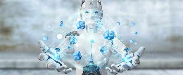 Robot femme blanche utilisant le rendu 3d d'interface d'écran numérique Photo Premium