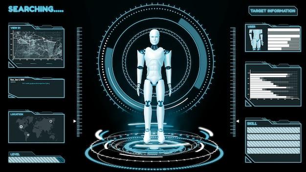 Robot Futuriste, Intelligence Artificielle Analyse Et Programmation Cgi Big Data Photo Premium