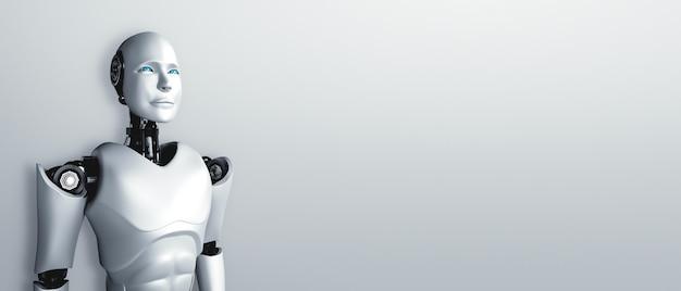 Robot Humanoïde Debout Avec Impatience Sur Fond Propre Photo Premium