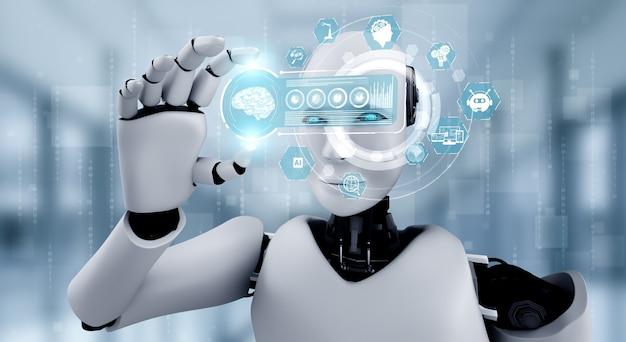 Robot Humanoïde Tenir écran Hologramme Hud Dans Le Concept De Cerveau De Pensée Ai Photo Premium