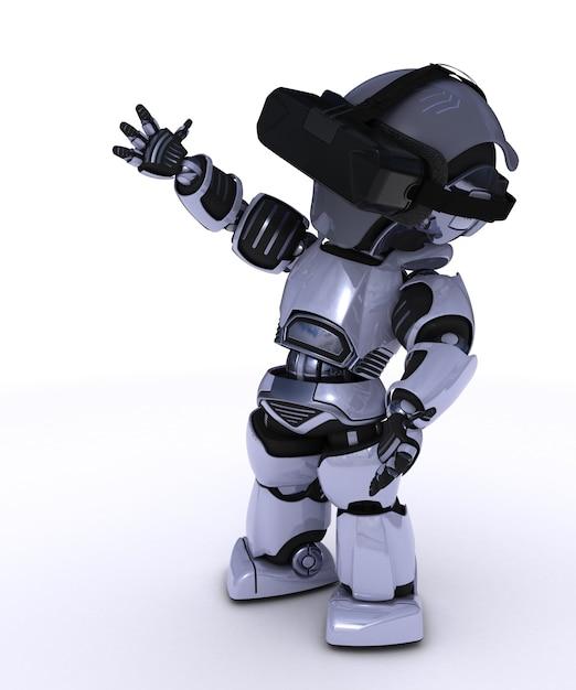 Robot avec des lunettes de réalité virtuelle Photo gratuit