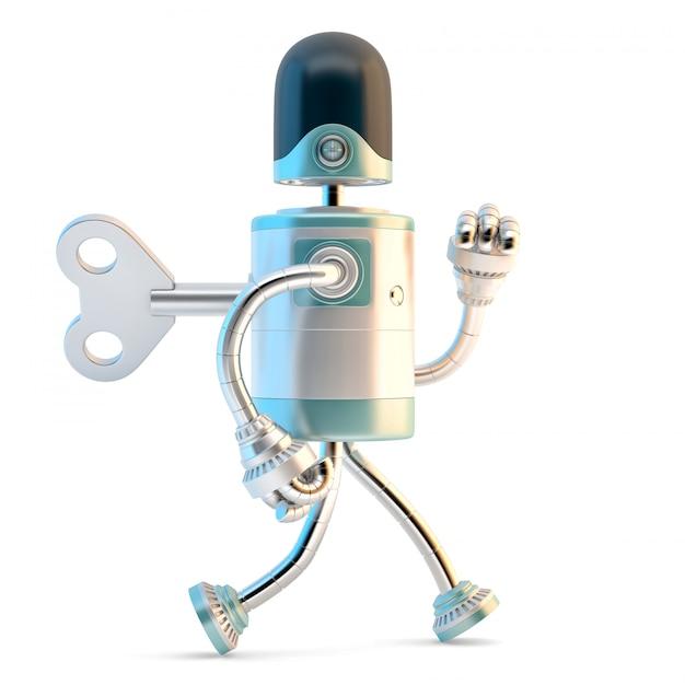 Robot marchant avec la clef de liquidation dans son dos. Photo Premium