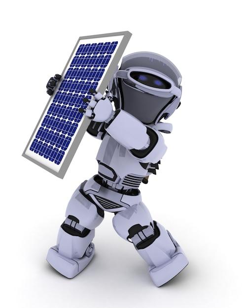 Robot Avec Panneau Solaire Photo gratuit